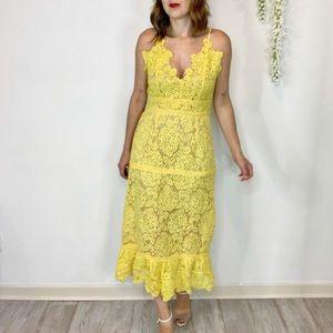 NWOT FOXIEDOX crochet maxi dress v-neck 1731